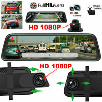 10'' HD 1080P Dual Lens Video Recorder Rearview Mirror Car Dash Cam Camera DVR