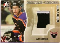 2005-06 ITG Heroes & Prospects Game-Used Emblem Gold Jeff Carter Vault Red 1/1