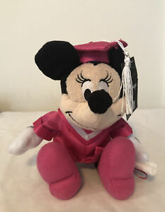 """New Disney Minnie Mouse Pink Graduation Plush Cap Gown Diploma 6"""" Stuffed Gift"""
