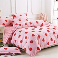 Strawberry Striped Bedding Cotton Duvet Cover Quilt Cover Set Single Queen King