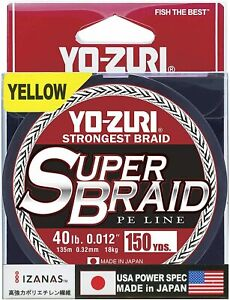 Yo-Zuri SuperBraid Braided Line, 40lb Test, 150yd, Yellow
