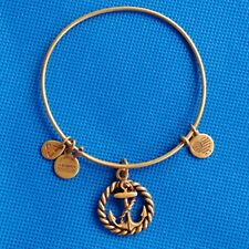 Alex and Ani Anchor Bracelet Nautical Charm Bangle Wire Slide Clasp Boat USA