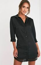 PRETTYLITTLETHING BLACK CHIFFON DETAIL SATIN LONGLINE SHIRT DRESS SIZE 8