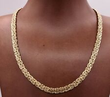 "17"" 6mm Wide All Shiny Classic Byzantine Chain Necklace Real 10K Yellow Gold"