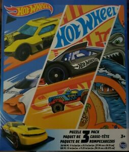 Hot Wheels Jigsaw Puzzle 3 Pack |  24, 48, & 100 Pieces