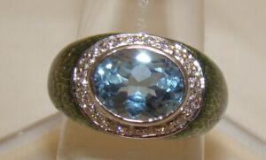 Designer Ring 18K White Gold Aquamarine & Diamonds Green Enamel 750 HIDALGO