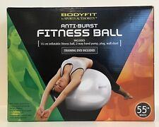 Bodyfit Fitness Ball - 55Cm / Burst Resistant w/ Training Dvd, Pump & Wall Chart