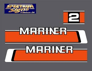 MARINER 2HP OUTBOARD (old) 2 HP STICKERS  DECALS  SELF ADHESIVE Others Available