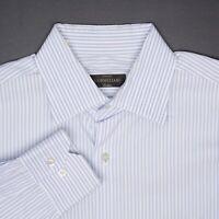 Corneliani Mens Dress Shirt 16.5/35 Light Blue White Stripe Cotton Button Front