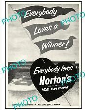 OLD 6x4 HISTORIC AD POSTER, HORTONS ICE CREAM 1953 BASEBALL WORLD SERIES