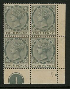 Tobago 1885 4d QV Plate Block of 4, with Malformed CE, SG22b, Toned (Trinidad)