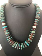 Turquoise Sterling Silver Spiny 24�NecklaceS111 Rare Native American Navajo Blue