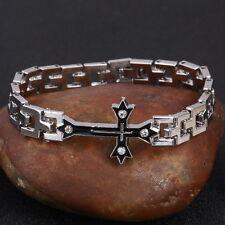 Uomini Silver Cross Bracciale Braccialetto Catena collegamento Regalo Papà Grandad son nuovi gioielli BL7