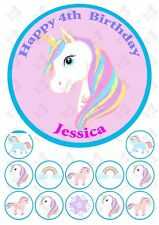 Unicorn 19cm PERSONALISED Edible Cake topper PLUS 12 cupcake toppers