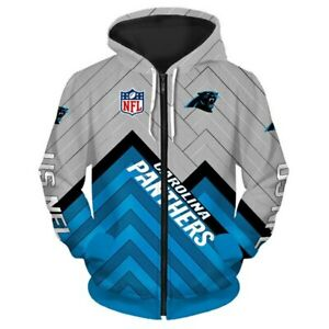 Carolina Panthers Hoodies Football Zipper Sweatshirt Casual Sports Hooded Jacket
