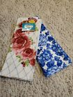 The Pioneer Woman Heritage Floral Towels 2 pc Red & Blue Roses dishcloths