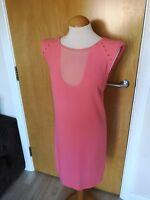 Ladies ZARA Dress Size L 12 14 Pink Sheer Smart Party Evening Wedding