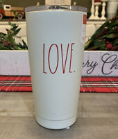 Rae Dunn - LOVE - Insulated Stainless Steel White Travel Tumbler w/ Lid