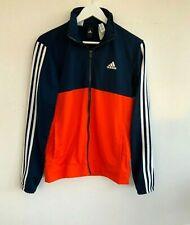 90's Vintage Adidas Tracksuit Jacket Top  Blue Orange Collared Sports UK10-12 38