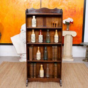Antique Carved Oak Open Bookcase Bookshelves