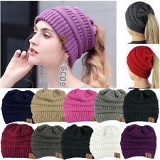 Women Beanietail Messy Bun Ponytail Knitted Beanie Skull Winter Fur Lining Hat