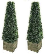 2 x Artificial Fake Trees 3ft Pyramid Cones Indoor outdoor Topiary all weather
