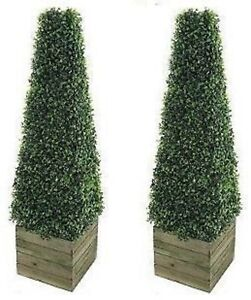 2 x Artificial  Trees 3ft Pyramid Cones Indoor outdoor Topiary all weather
