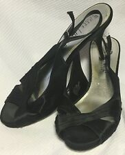 "Shoes WHITE HOUSE BLACK MARKET 4"" Heels BLACK SATIN Open Toe Formal Slingbacks 9"