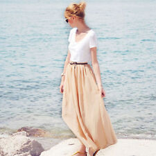 Chiffon Hand-wash Only Long Solid Skirts for Women