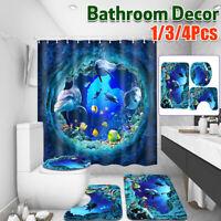 Shark Deep Sea Shower Curtain 10 Hooks Non-slip Bath Mat Pedestal Rug Lid Toilet