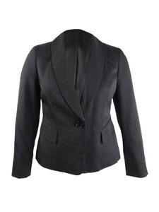 Le Suit Women's Double-Pinstriped Blazer 10, Black/Ivory