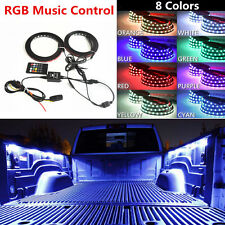 "2x60"" RGB LED Car Pickup Bed Light Strip Waterproof Neon Glow Lamp Music Control"