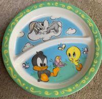 "ZAK DESIGNS Baby Plate 7"" Divider Separator Daffy Duck Bugs Bunny Tweety Bird"