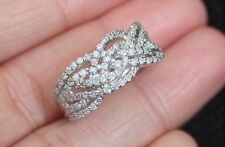 New 10K Sz8 3/4ct Diamond Twisted Braided Ring Wide Wedding Band White Gold