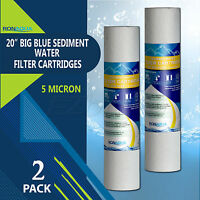 "Big Blue Sediment Replacement Water Filters 5 Micron 4.5"" x 20"" Set of 2"