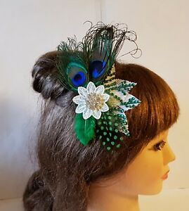 Bridal Peacock Feather hair comb, 1929s Crystal Blue Green feather Fascinator