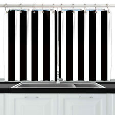 Black and White Stripes Window Treatments for Kitchen Curtains 2 Panels,55x39""