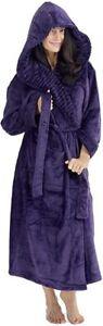 Peignoir A Capuche Femme Super Doux Robe de Chambre en Polaire idée cadeau noel