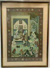 Antique Indo Persian Silk  Court Life Picture Islamic Picture Painting