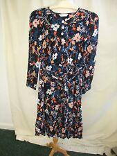 Ladies Dress BHS UK 12, EUR 40 navy floral crinkly texture viscose, light 2137