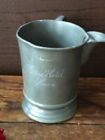 C18/19 Century Antique Sussex Hotel Hove Engraved Pewter Tankard, 1 Pint