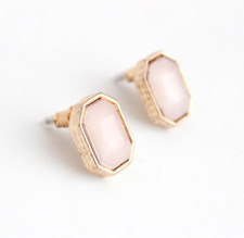 Pink Stone Stud Earrings Gold Plated Sterling Silver Octagon Classic Chic Retro