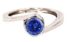 Round Shape 14KT White Gold 1.70 Carat Natural Blue Tanzanite Anniversary Ring