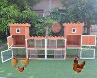 "102.8"" Large Deluxe Wooden Chicken Coop Hen House Rabbit Hutch Backyard Poultry"