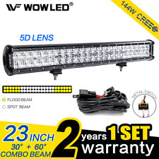 23Inch 144W 5D Lens CREE LED Combo Offroad Driving Light Bar Truck Lamp + Wiring