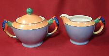 Nortiake Art Deco Luster Figural PARROT Handles Creamer & Sugar Bowl