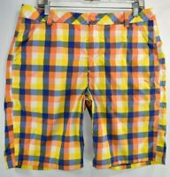 Puma Check Tech Golf Shorts Mens Size 34 Stretch Meas. 34 x 10 Orange Yellow