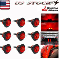 9x 3/4In Red LED Auxiliary Truck Trailer Rear Tail Brake Marker Light