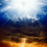 """Jesus Christ In Blue Sky With Clouds Canvas Painting """"Blessed are the merciful"""""""