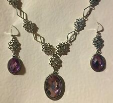 LACY FILIGREE VICTORIAN STYLE LILAC PURPLE DARK SILVER PL NECKLACE EARRINGS SET